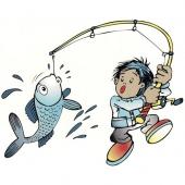 Deček je ujel ribo ( 24 x 19 cm.)