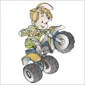 Fant na triciklu  ( 13  x 9 cm.)