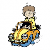 Fantek v avtu (12 x 15 cm.)