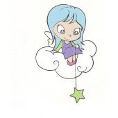Mala punčka na oblaku( 3,5  x 8 cm )