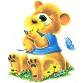 Medvedek z rožco ( 14,5 x 17 cm.)