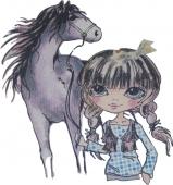 Punčka in konj  ( 25 x 18   cm )