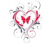 Srček z metuljem  ( 13  x 16,5 cm )
