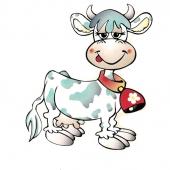 Vesela krava  (  13,5 x16,5  ) cm )