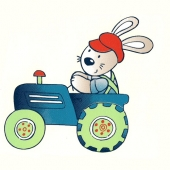 Zajček na traktorju ( 12 x 11,5 cm.)