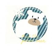 6,5 cm x  6,5 cm ) Medvedek s snežinko