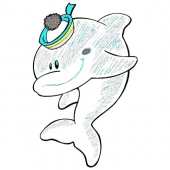 Delfin ( 9 x 14 cm.)