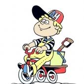 Fantek na triciklu ( 12  x 14,5 cm.)