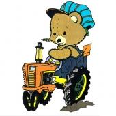 Medvedek na traktorju ( 14 x 21 cm.)