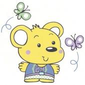 Medvedek z metuljčki (  15 x 15 cm )